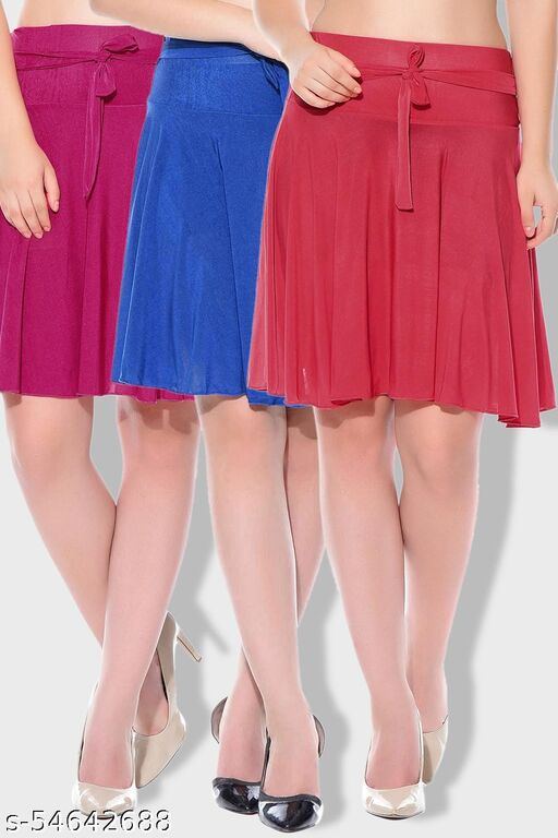 Mixcult Combo of 3 Pcs Pink Blue Red Solid Crepe Mini/Short Length Flared Skirts