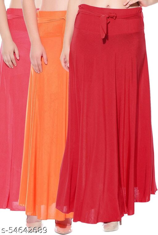 Mixcult Combo of 3 Pcs Red Orange Red Solid Crepe Full Length Flared Skirts