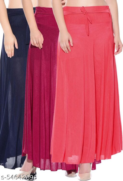 Mixcult Combo of 3 Pcs Blue Pink Red Solid Crepe Full Length Flared Skirts
