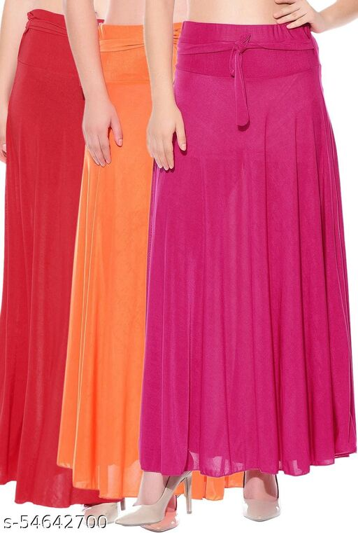 Mixcult Combo of 3 Pcs Red Orange Pink Solid Crepe Full Length Flared Skirts