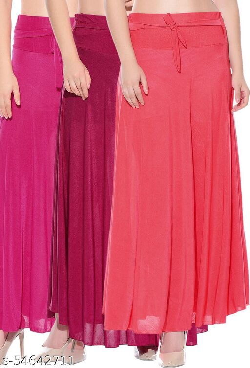 Mixcult Combo of 3 Pcs Pink Pink Red Solid Crepe Full Length Flared Skirts