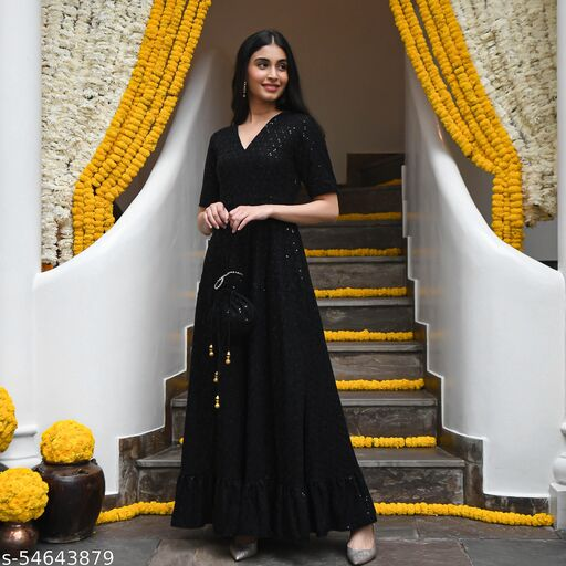 Black Designer Anarkali Gown In Rayon With Lucknowi Chikankari Embroidery Work