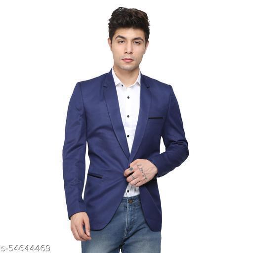 An Garments Men Solid Festive Dark Blue Blazer