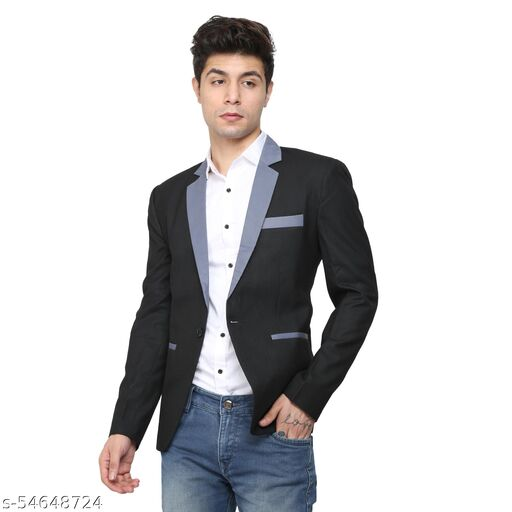 An Garments Men Solid Festive & Wedding, Party, Casual, Light Black,Grey Blazer