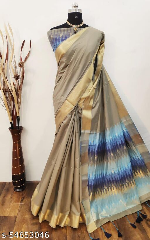 KB Chanderi Cotton Saree With Soft Ikkat Woven Different Designs Pallu And Ikkat Woven Blouse Piece