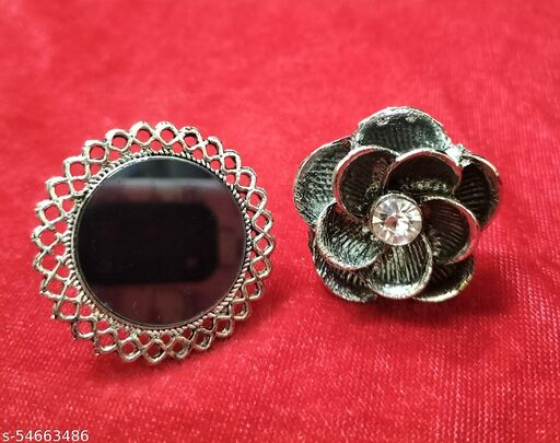 Combo of oxidised silver rings for women and Girls