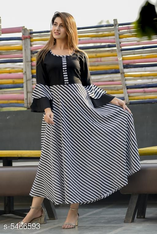 Women Rayon Flared Stripe Kurti