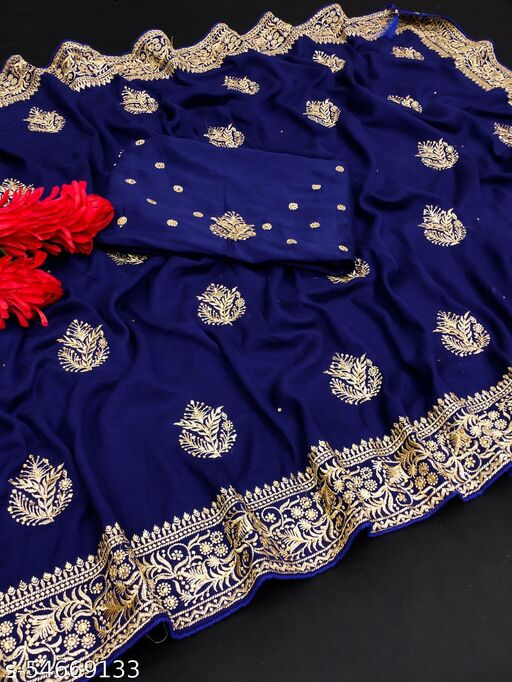 Latest Pattern For you Vichitra Silk Saree With Beautiful Embroidery And Daimond Work Surat