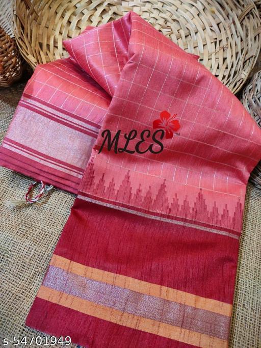 KB Beautiful 70grm Raw silk Silver Zari checks sarees with exclusiveTemple Border and Contrast Zari Pallu