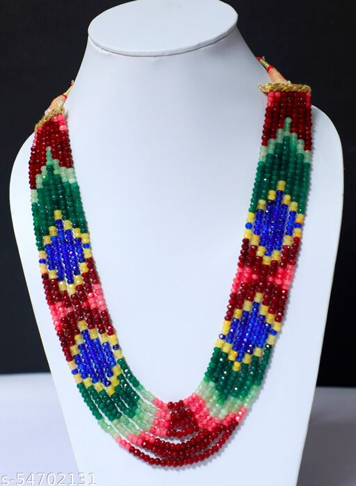 Shimmering Graceful Beautiful 7 layer Multi Sapphire Necklace