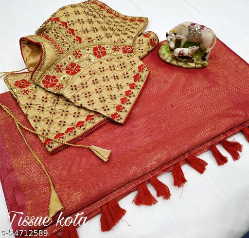 Dhra Creation Present Launching New Tissue Kota Saree With  Work Blouse