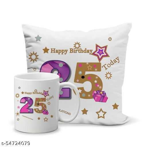 Happy Birthday 25- Quote Printed Coffee Mug and Cushion Cover (12x12in) Combo, Best Gift for Birthday- BRTHDYCOMBO-025