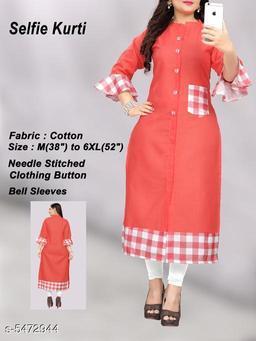 Women Cotton A-line Printed Orange Kurti