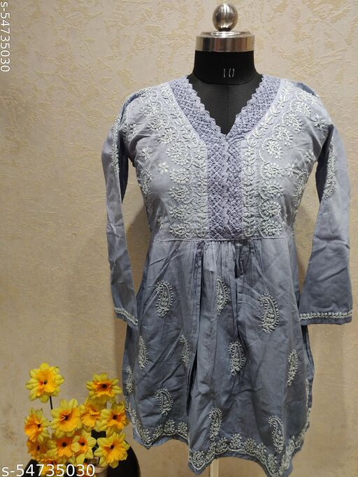 Cotton short top qureshia lace shaded