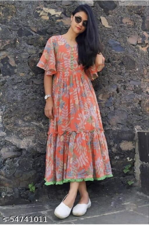 PRINTED RED GEORGETTE STITCHED GOWN