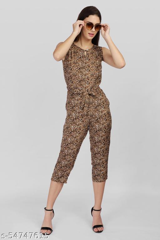 Brown Tiger Print Jumpsuits.