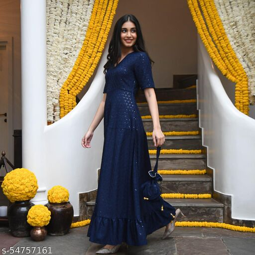 Blue Designer Anarkali Gown In Rayon With Lucknowi Chikankari Embroidery Work