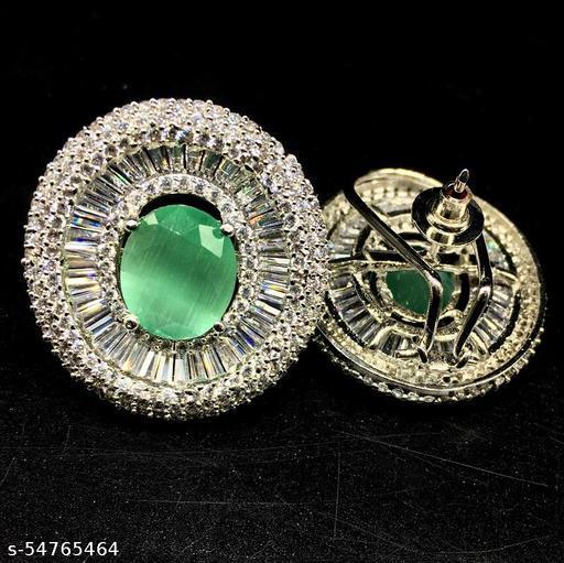 Oval Design AD Diamond Designer Big Stud Earrings
