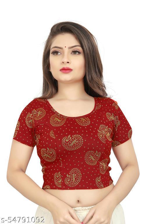 Varni Creation Girl's & Women's Cotton Lycra Blend Readymade Round Neck Short Sleeve Blouse