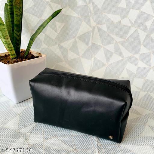 Genuine Leather Black Toiletry Kit