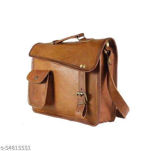G.S OVERSEAS Women's Leather Smart Laptop Bags & Sleeves Shoulder Bag (Brown, 10x13 Inch)
