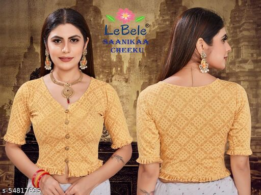JACQUARD WEAVED (WASHABLE WITH FULL GUARANTEE)  LYCRA COTTON STRETCHABLE STITCHED BLOUSE WITH FRILL AND BUTTONS