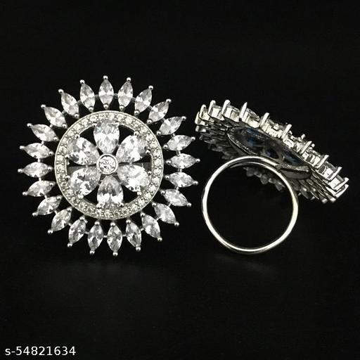 AD Diamond Flower Design Finger Ring
