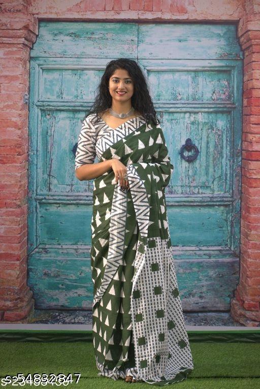 Designer Cotton Mulmul Printed Saree For Women.