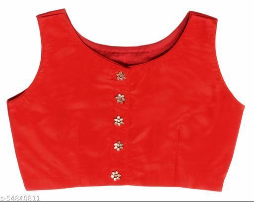 Stylish and Elegant Boat neck Red Crape Blouse.