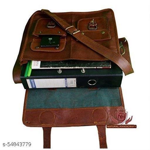 """G.S OVERSEAS Vintage Leather Laptop Bag 20"""" Messenger Handmade Briefcase Cross Body Shoulder Bag"""