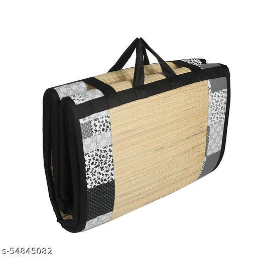 KALA DARSHAN CRAFTS BAZAAR - Foldable Mat 4 X 6 ft Korai River Grass chatai Black Cotton Fabric with 15MM Soft Foam Comfort Cushion Floormats & Dhurries