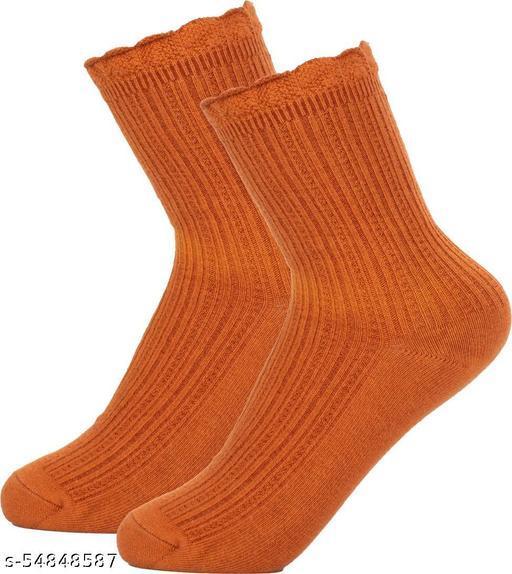 ThunderLook Orange Mid-Calf/Crew Women Socks SK1124
