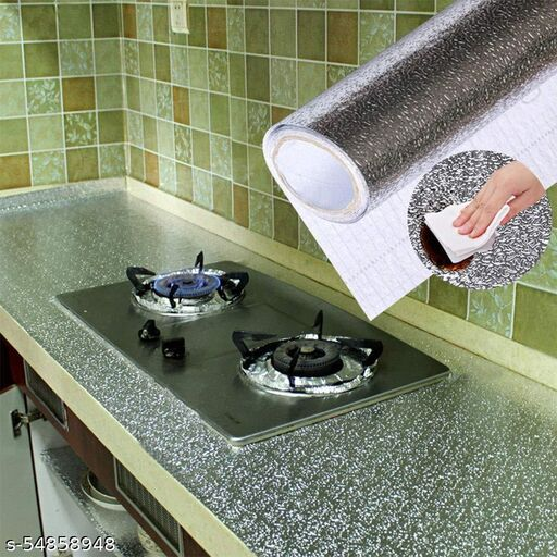 Kitchen Wall Stove Aluminum Foil Oil-Proof Stickers Anti-fouling High-Temperature Self-Adhesive Wallpaper Wall Sticker