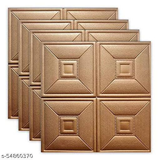 Wembley 3D Tiles Foam Panels for Living Room Bedroom Hall  3D Polyethylene foam wall sheets for Home decoration  Self Adhesive (27 X 27 Inch Per Sheet   Total Area Coverage -20.25 Square feet) - 8mm 4 Pcs. - Copper