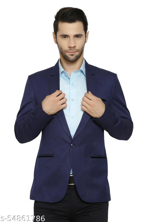 An Garments Solid Single Breasted Festive & Wedding, Party, Casual, Formal Men Full Sleeve Navy Blue Blazer