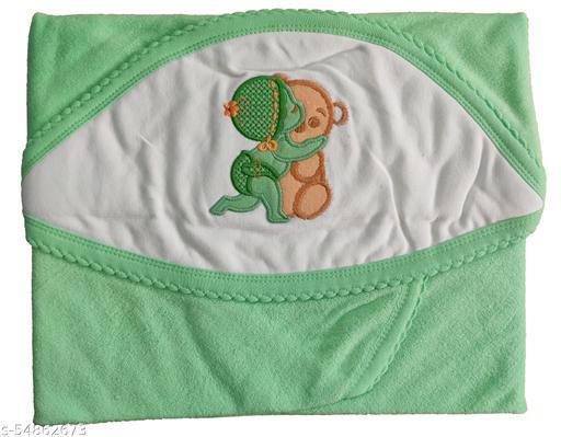KILKARIYAA Presents Baby Hooded Towel & Color Printed Wrapper/Blanket Baby Towel, Super Soft Cotton Towel, (GREEN, Size 72cm X 72cm)