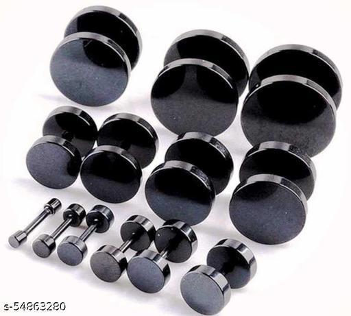 Trendy Black Dumble Ear Stud For Mens/Boys