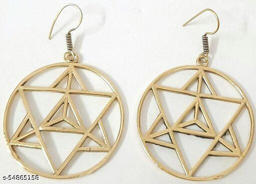Floral & mandala pattern Brass earrings, German silver Gold plated Earring