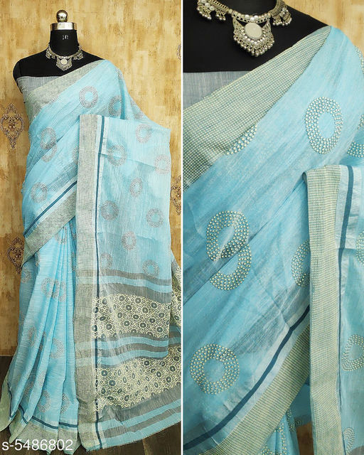 Women's Pure Linen With Rubber Print Exclusive Wear Saree