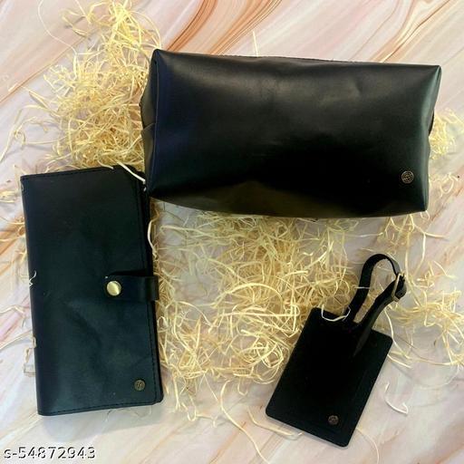 Black Leather Travel Kit-With Toiletry Kit/DOPP Kit, Passport Holder, Luggage Tag