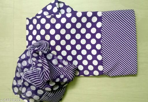 Blue White Polka Dots Poly Crepe Fabric