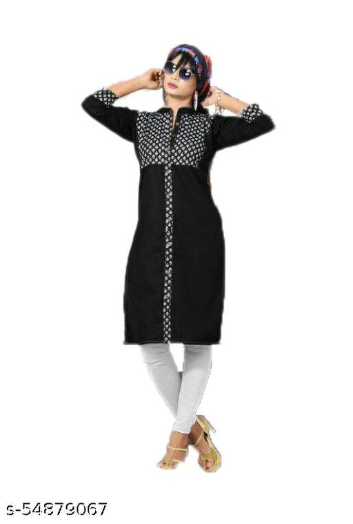 Black Denim Kurti Pattern 1 - Front Buttoned and Top design
