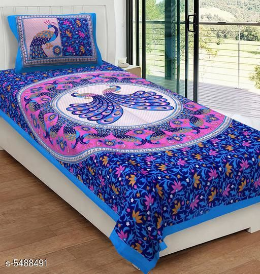 Bedsheets  Attractive Cotton  90 X 60 Single  Bedsheets  *Fabric* Cotton  *No. Of Pillow Covers* 1  *Thread Count* 120  *Multipack* Pack Of 1  *Sizes*   *Single (Length Size* 90 in, Width Size  *Work* Printed  *Sizes Available* Single *   Catalog Rating: ★3.8 (18)  Catalog Name:  Attractive Cotton  90 X 60 Single  Bedsheets Vol 12 CatalogID_818900 C53-SC1101 Code: 353-5488491-