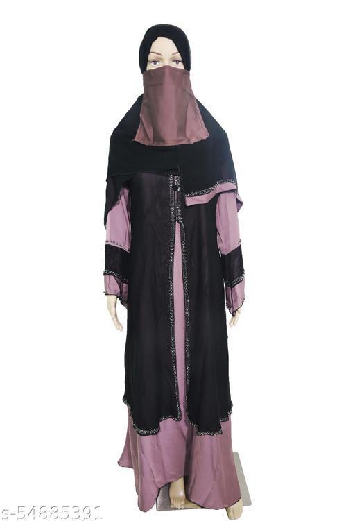 Women's Abaya Burkha Stone work Nida Fabric with Dupatta. (Pink Colour)