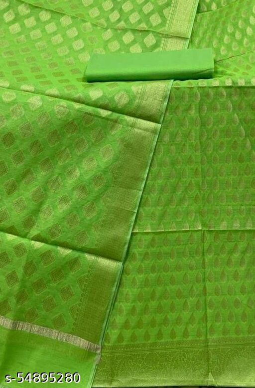 (R9Mint Green) TrenDy Banarsi Cotton Suit And Dress Material