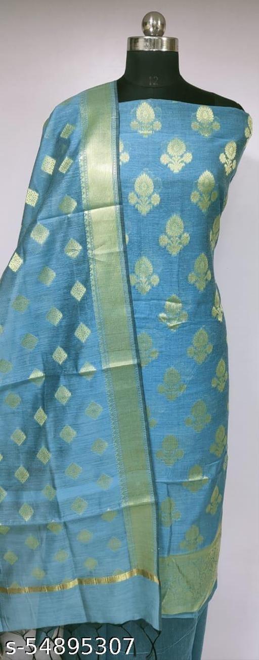 (R13Aqua Blue) Fashionable Banarsi Cotton Suit And Dress Material
