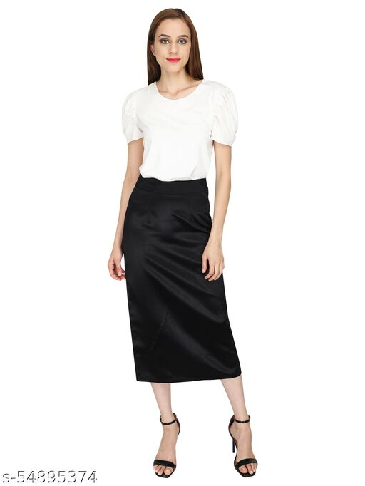 LADIES SATIN STRAIGHT FIT SKIRT WITH ZIPPER OPENING AT SIDE.