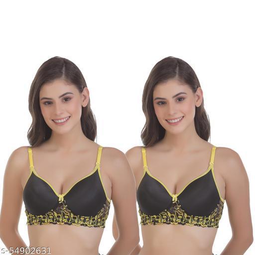 Fit's Her Women's T-Shirt Lightly Padded Bra (Pack of 2)