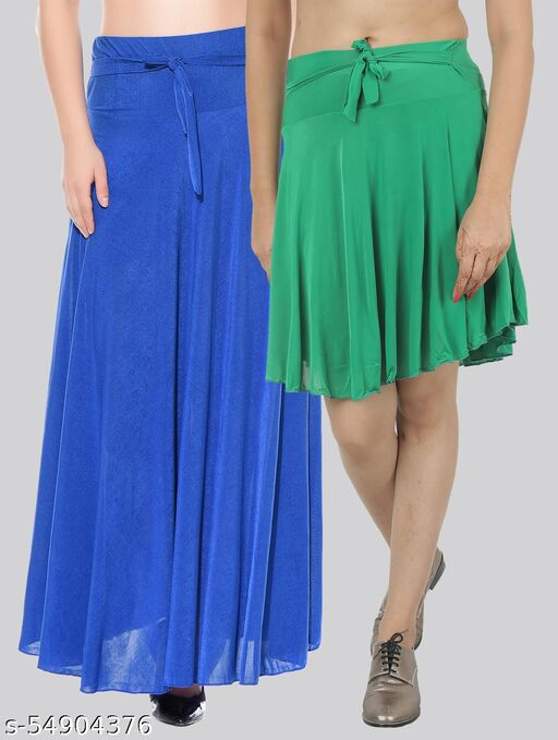 Dashy Club Combo of 2 Pcs  Blue Long & Green Small Solid Crepe Flared Skirts