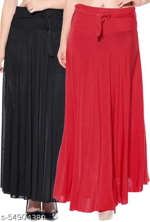 Dashy Club Combo of 2 Pcs Black Red Solid Crepe Full Length Flared Skirts